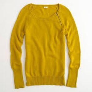 J. Crew Factory Chartruse Sweater w/zipper detail